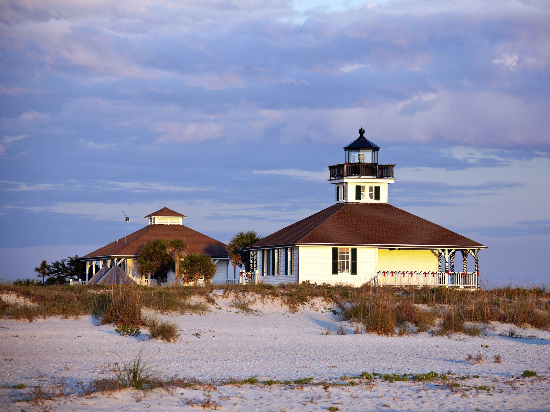 The Boca Grande Lighthouse from the beach, on Gasparilla Island in Florida