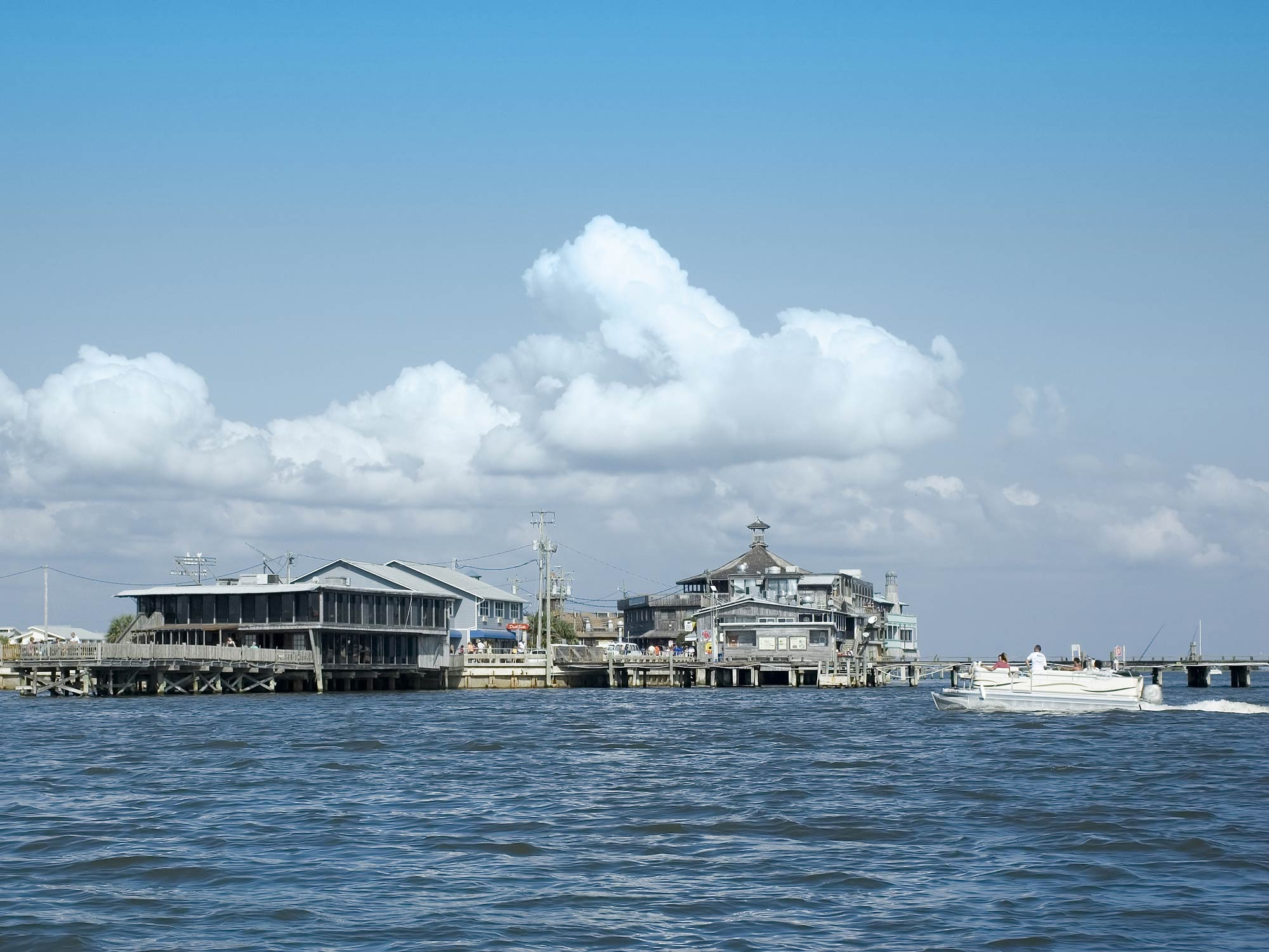The waterfront at Cedar Key, Florida from the channel in the Gulf of Mexico