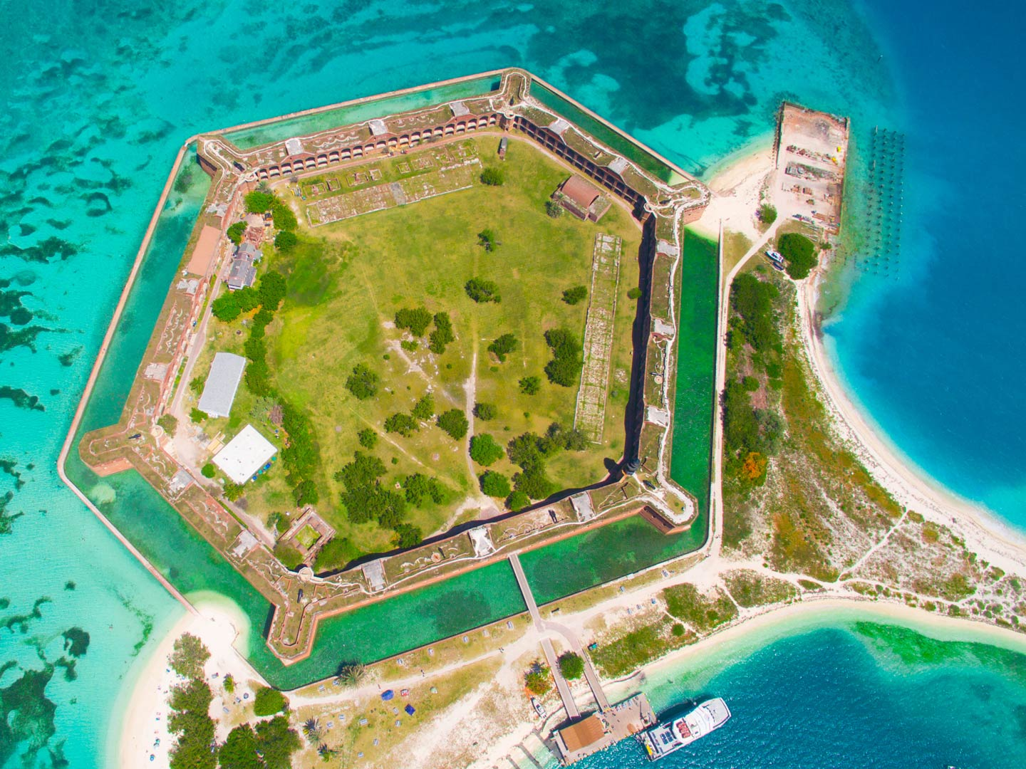 An aerial view of Fort Jefferson on Garden Key in Dry Tortugas