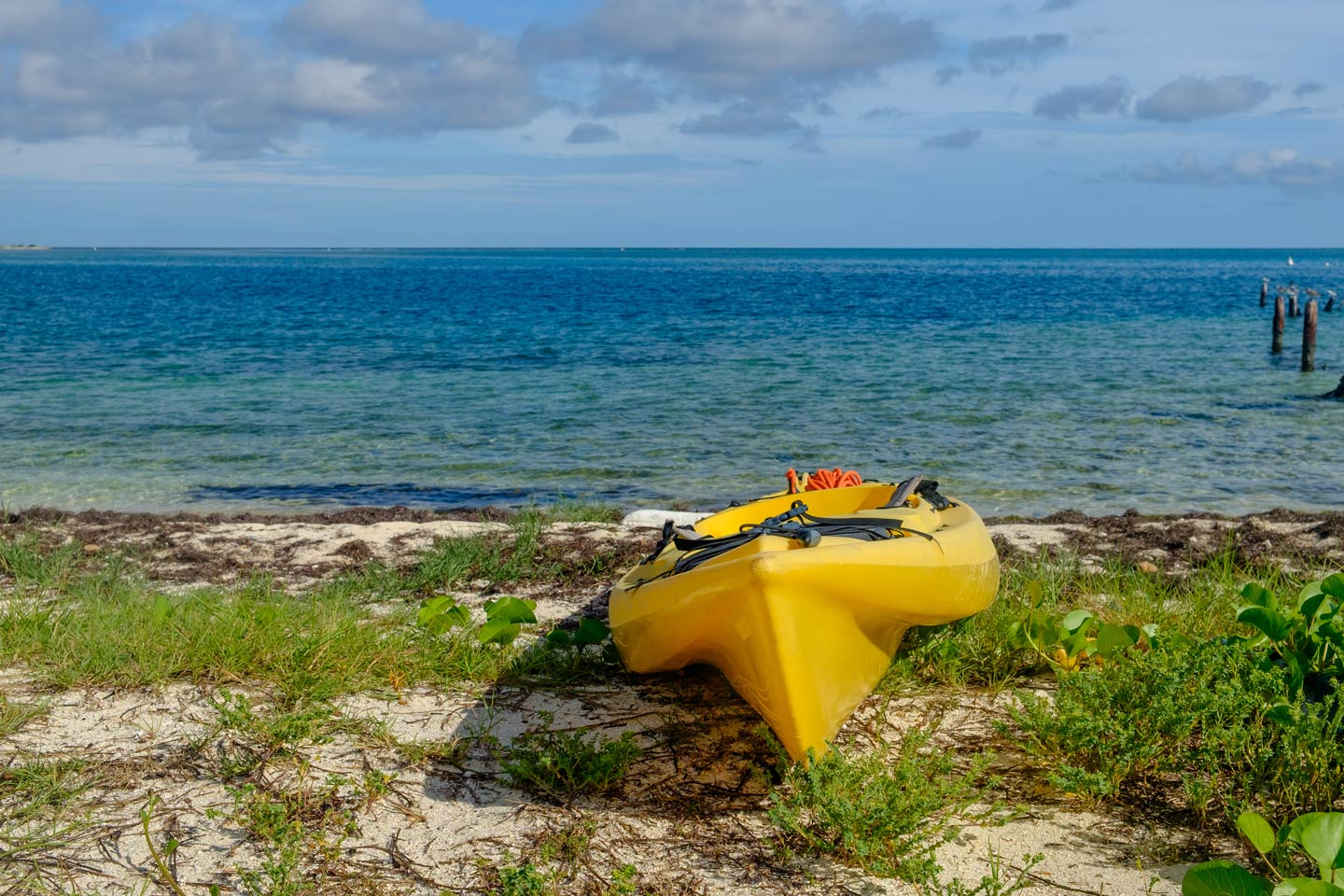 A kayak on the shore of Dry Tortugas