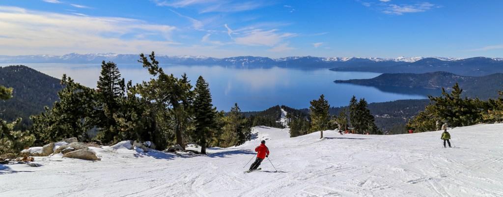 a panoramic view of skiing near Lake Tahoe