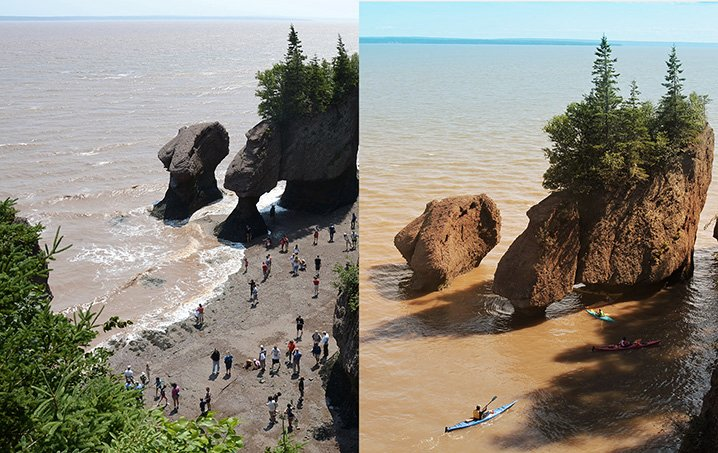 Tide change in Hopewell Rock showing a comparison between high and low tide