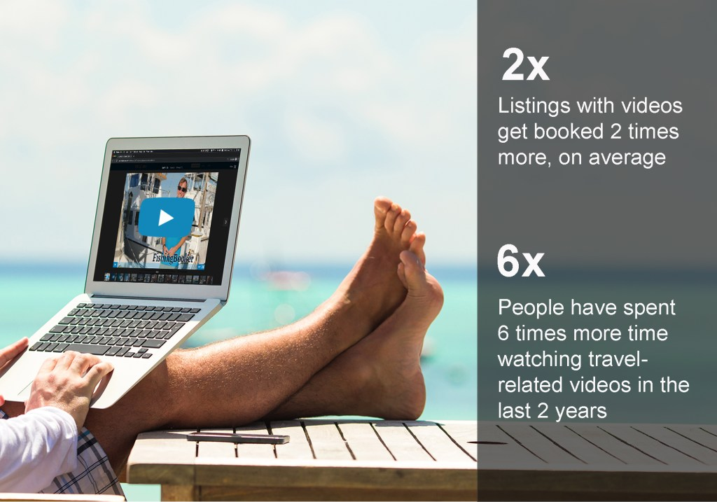 Man looking at video with text overlay: Listings with videos get booked 2 times more, on average. People have spent 6 times more time watching travel-related videos in the last 2 years.
