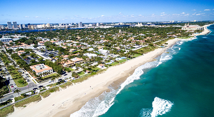 West Palm Beach waterfront with sand beaches looking onto the ocean