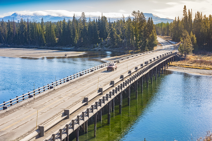 View of the fishing bridge in the Yellowstone National Park