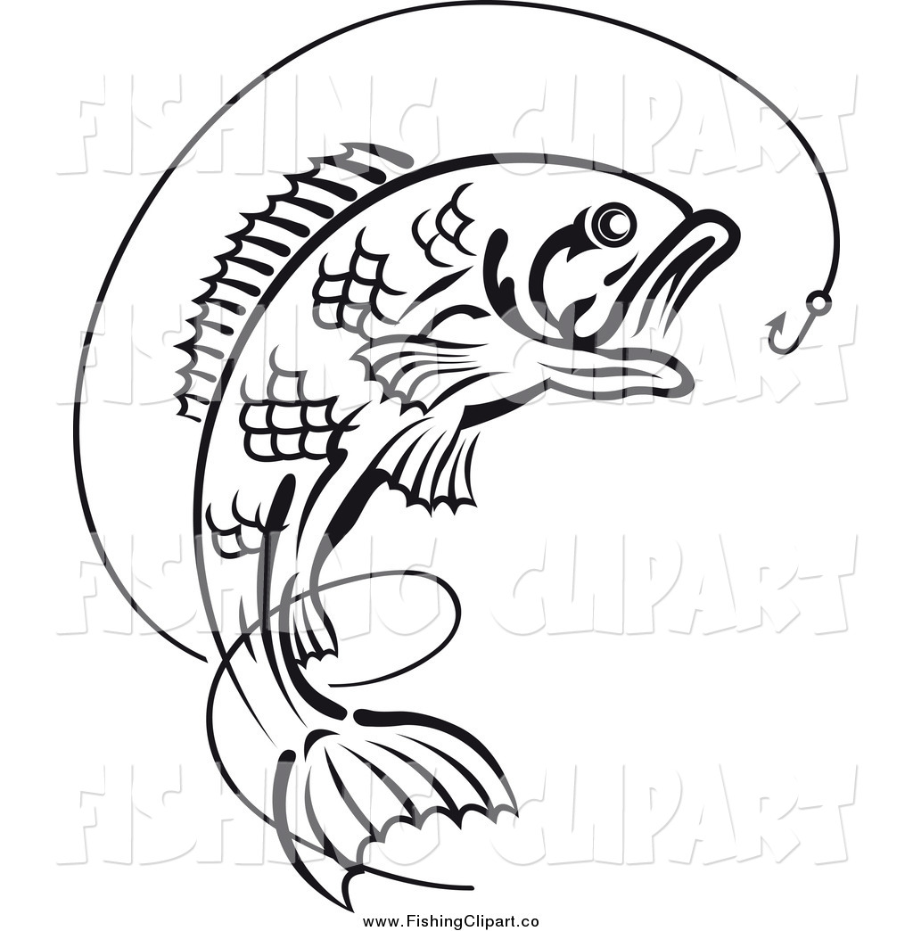 hight resolution of clip art of a black and white leaping fish under a hook with line