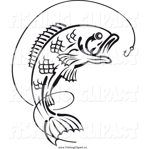 small resolution of clip art of a black and white leaping fish under a hook with line