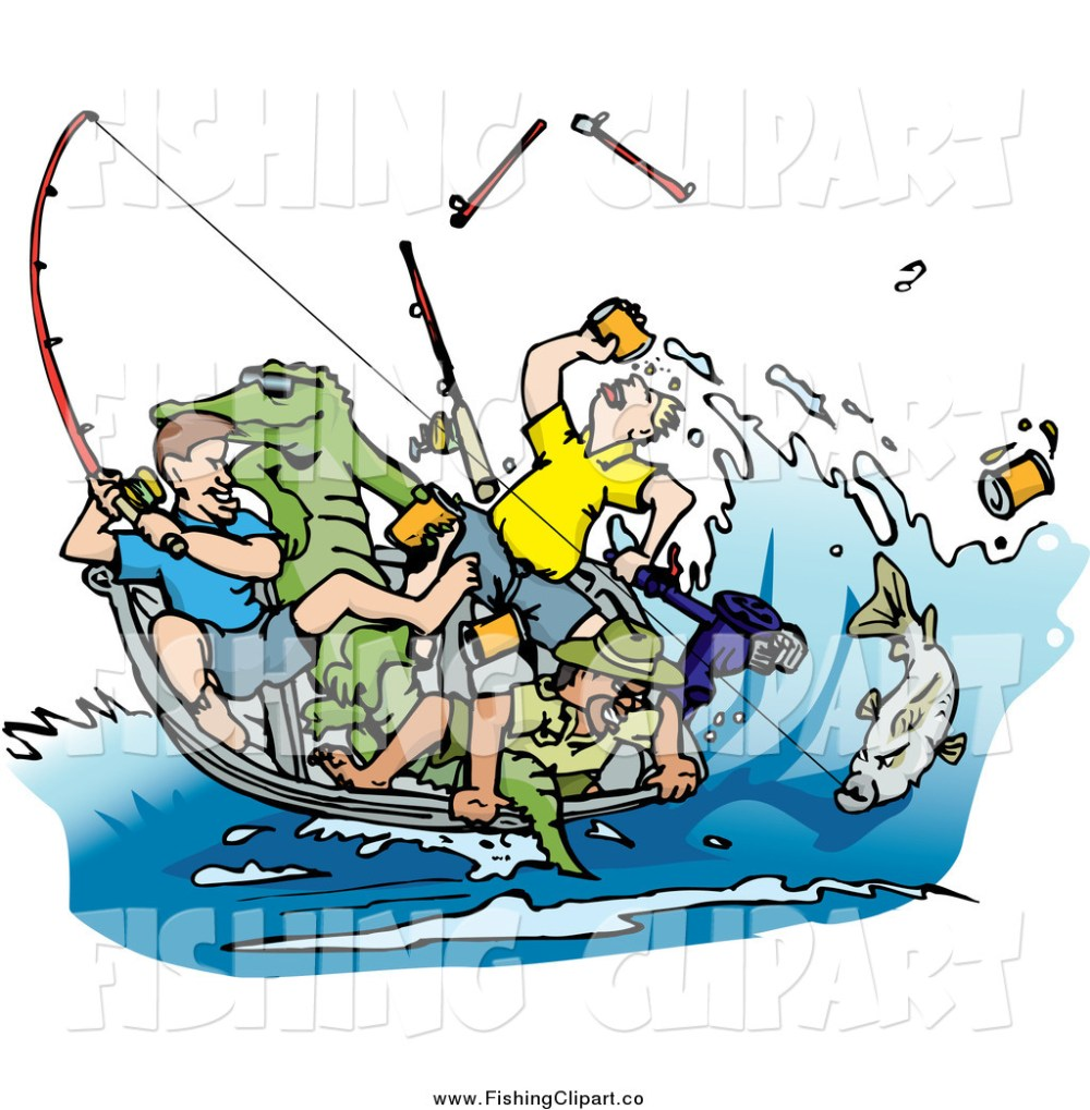 medium resolution of clip art of a drunk men fishing with an alligator in the boat