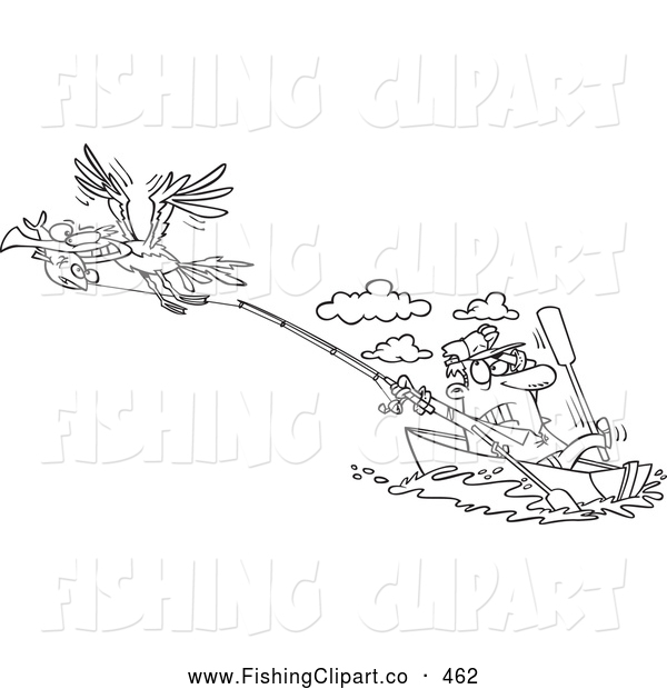 Clip Art of a Coloring Page of a Bad Gull Stealing a Fish