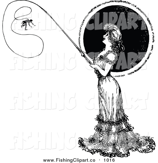 Clip Art of a Vintage Black and White Woman Catching a Man