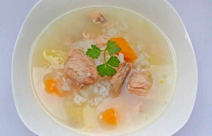 Rice fish soup.