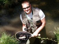 Sean with one of the numerous wild rainbow trout caught that day.