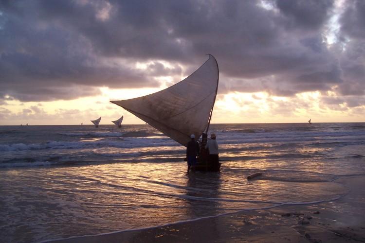 dawn, leaving the beach