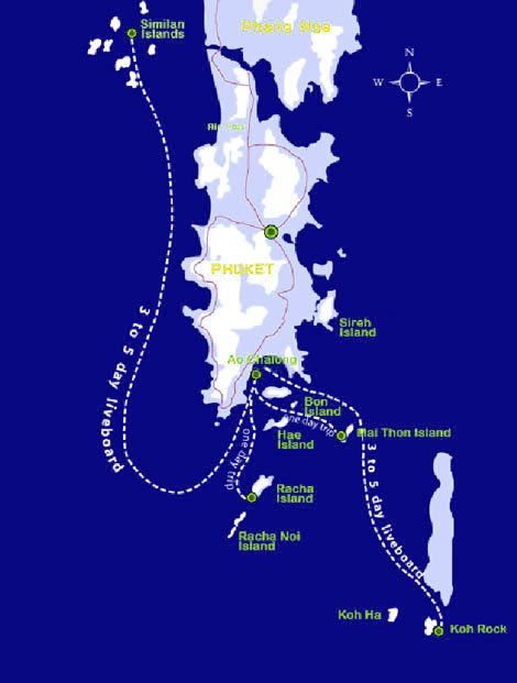 Map showing Phuket and local fishing destinations