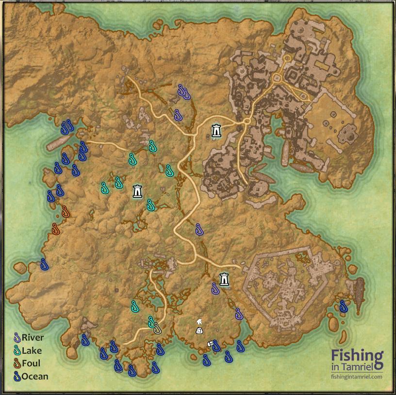 Hews Bane Fishing Map - Fishing in Tamriel