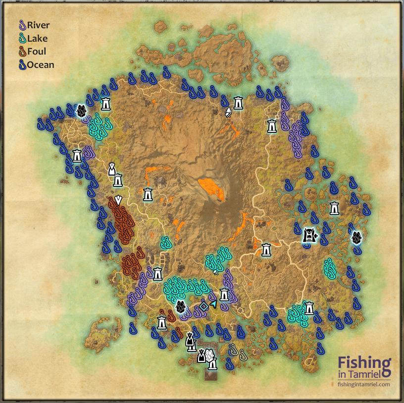 Morrowind / Vvardenfell Fishing Map - Fishing in Tamriel