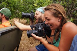 Morgan and Michael trying to shoot from the back of the Land Cruiser on our game drive