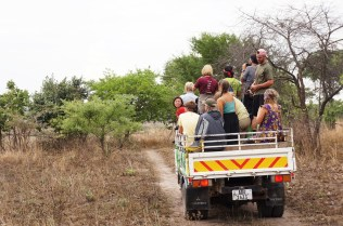 A canter full of Peace Corps volunteers on a game drive in Kasanka National Park