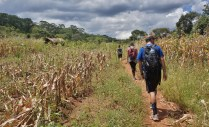 Trekking through a remote village high above Lake Tanganyika