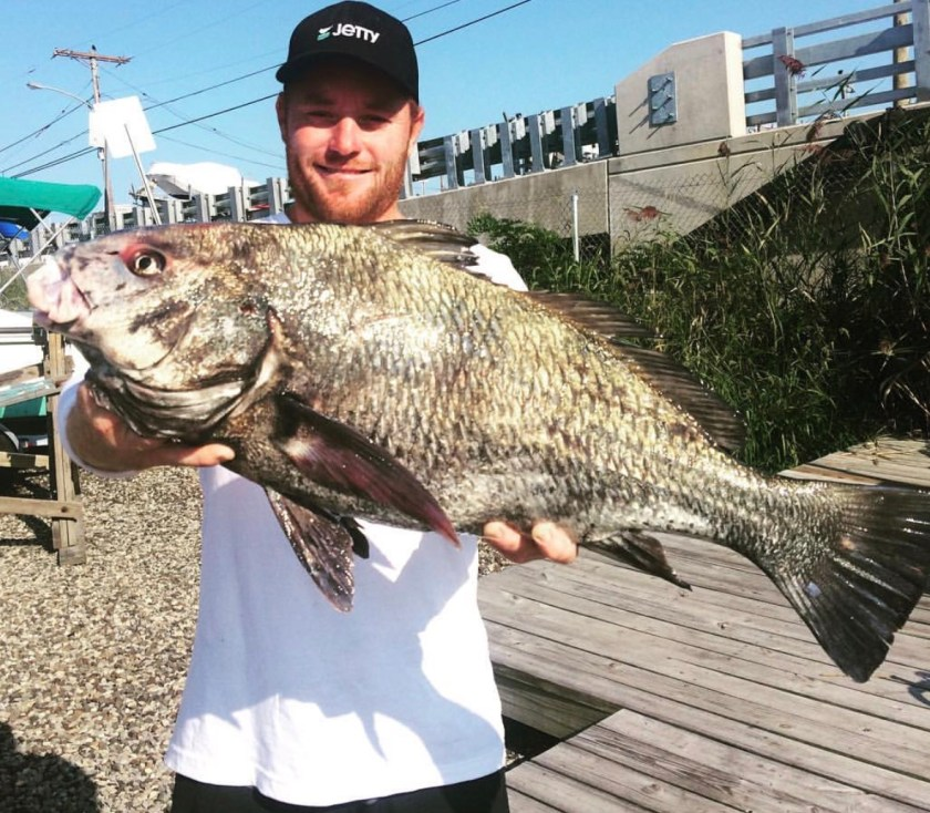 Spearfishing black drum caught by Brian Coen in the waters of Long Beach Island.
