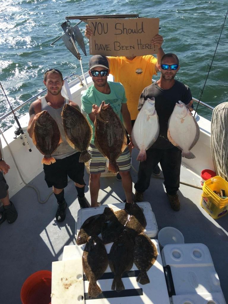 Awesome catch fluke fishing from the boyz aboard the Carolyn Ann III.