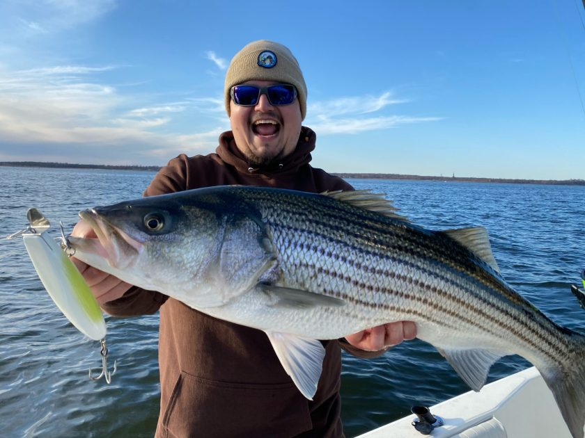 Fish Head store staffer Max is holding up a healthy striped bass that went for a metal lip plug on Saturday afternoon.