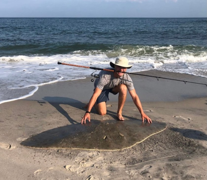 Grant Johnson hooked into a monster butterfly ray while fishing the surf for fluke. He was working a bucktail on light tackle and got a very different flat doormat than what he was hunting for. He carefully landed the monster ray in order to safely remove the hook. After snapped a fast photo, it was quickly released it.