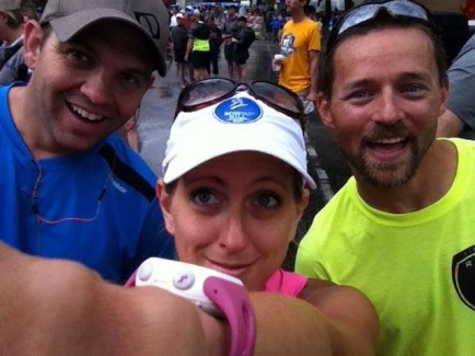 Cyrus Swigert, Shelly Byrd and Russell Wenz lining up for the Hospital Hill Half Marathon.