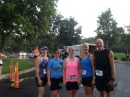 Rachel Hamby, Stephanie Shellenberger, Julie Shellengerger, Linda Pasalisch and Jody Pasalich line up for the Dot To Dot 10K.