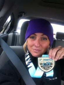 Shelly Byrd displays some serious hardware earned at the Longview Half Marathon.