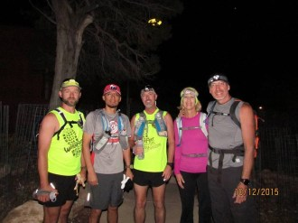Beginning their trek at 5 a.m.: Russell Wenz, Carlos Rodriguez, Don Ledford, Linda Pasalich, Jody Pasalich