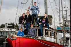The Sadler family aboard Randy's trawler, the Nina Ellen.