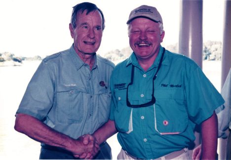 Throughout his career at Shimano, Phil Morlock was instrumental in advocating recreational fishing issues government leaders, such as when fishing with U.S. President George H.W. Bush.