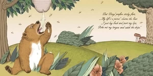 <b>А вот Берил предпочитает липкую еду. «Моя жизнь — сплошное удовольствие» — утверждает медведь. «Я просто ложусь на спину и размыкаю губы, высовываю язык и ловлю капающую жидкость.»</b><br/><br/>
