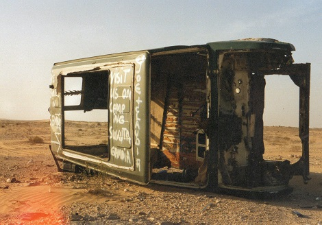 Sahara desert crashed car