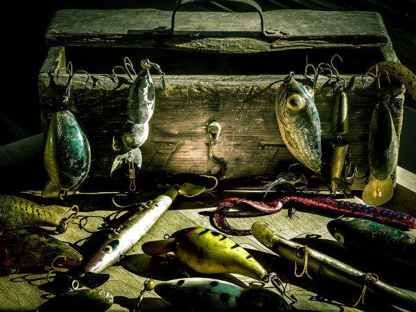 Tackle box, photography, antique fishing lures
