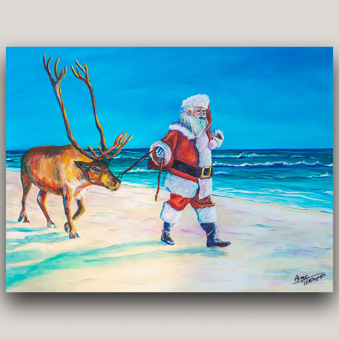 painting of Santa on the beach with reindeer