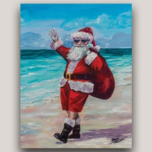 painting of Santa Claus on the beach with sack of toys
