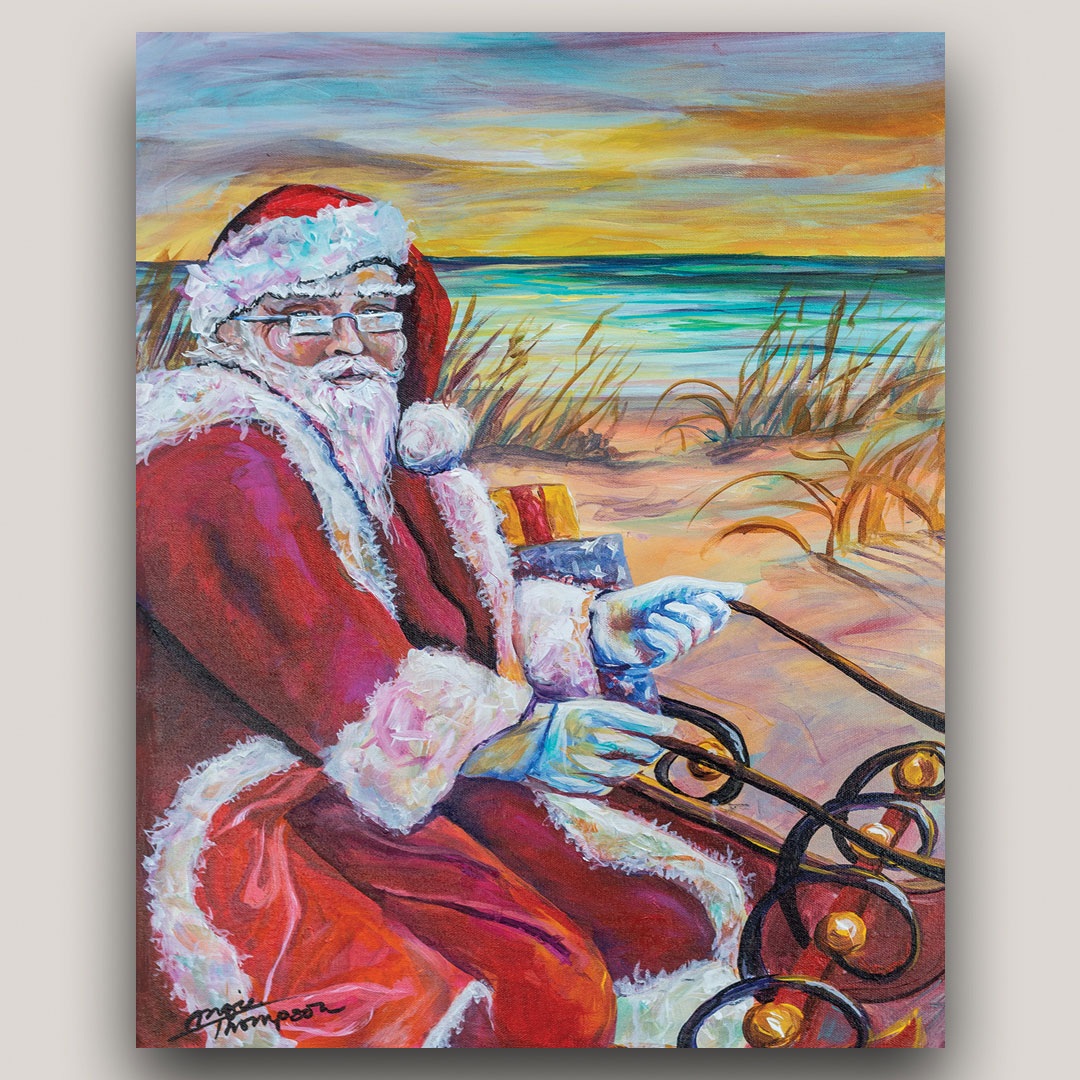 Painting of Santa Claus on the beach on sleigh