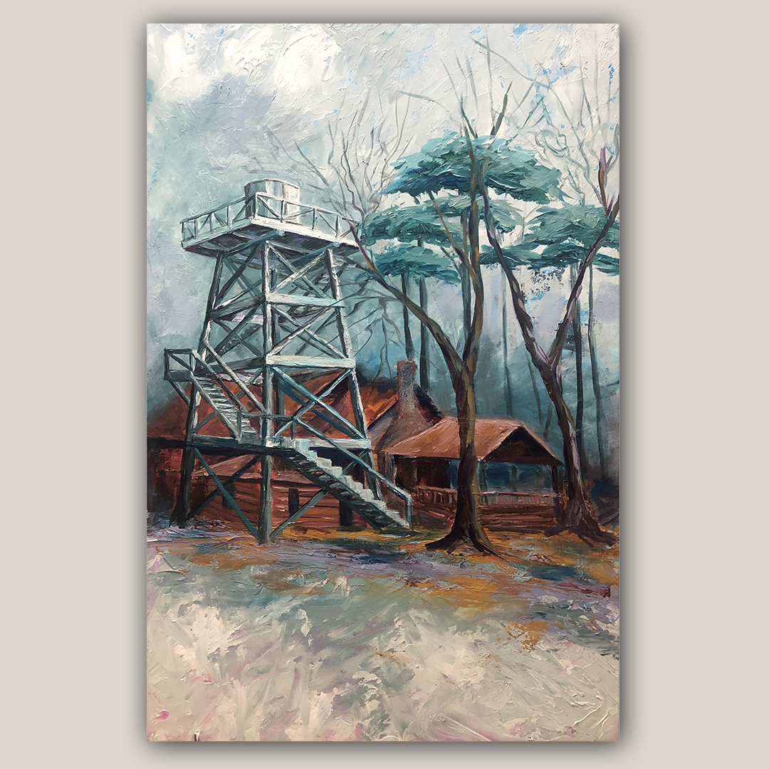 painting of the water tower at Camp helen in florida