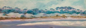paiting of the landscape at camp Helen from the outflow of Lake Powell