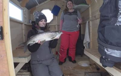 Girls Weekend Ice Fishing on Lake Temagami