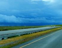Dark and threatening skies nearing Sacramento.