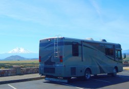 Parked at the view area for Mt. Shasta. If this looks familiar look at the top of the page; this is the same location as the photo on the header photo.