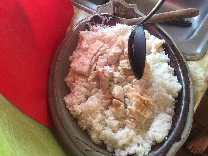 fish on rice