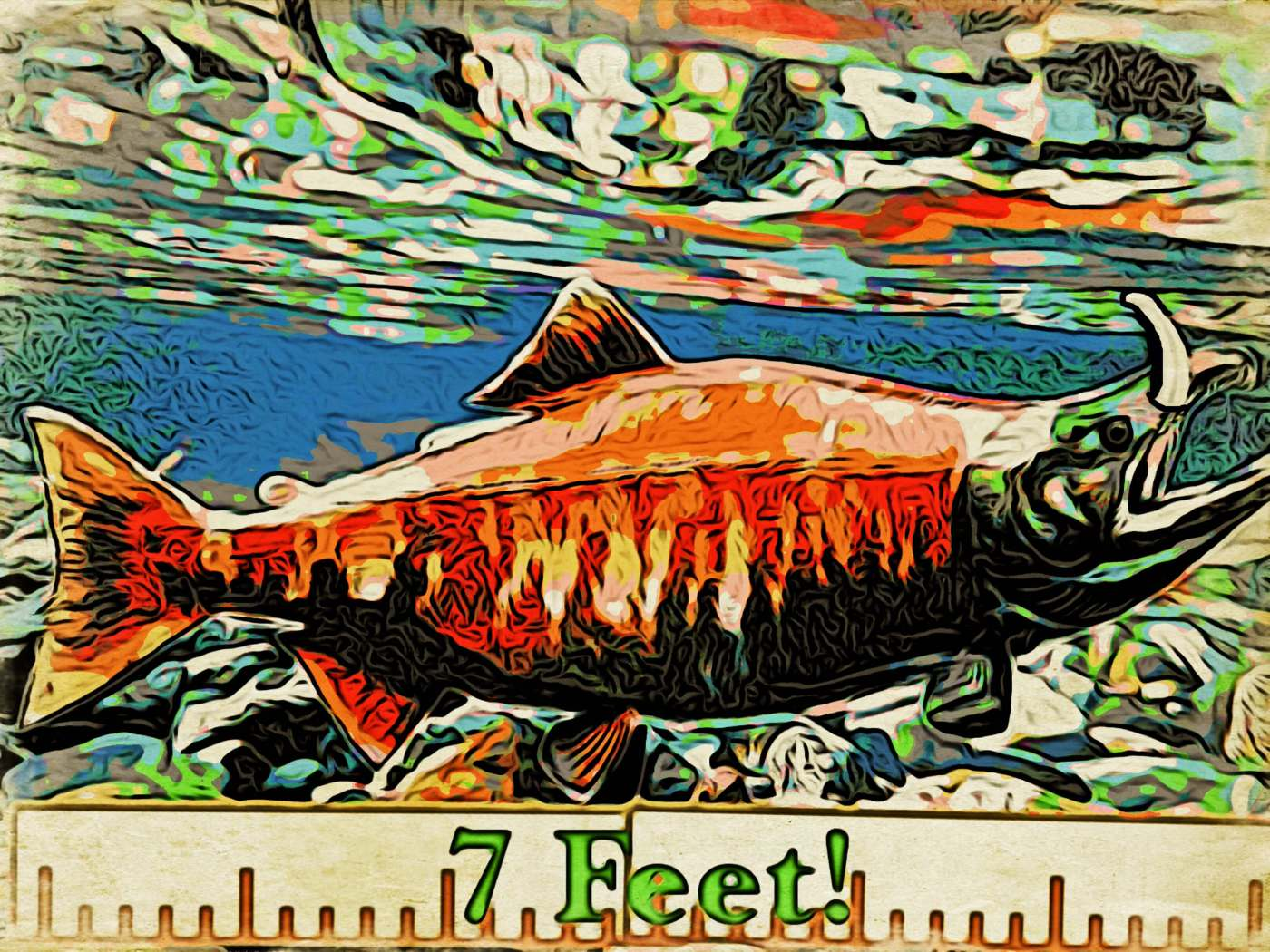 Here's my artists' rendition of the sabertooth salmon!