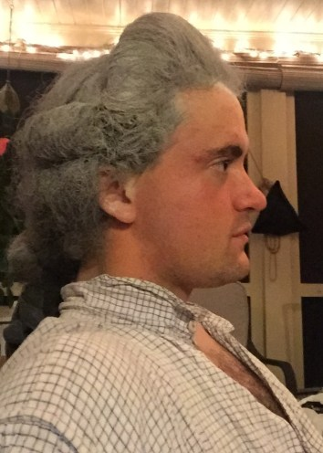 1770s hairstyle recreated with the assitance of Abigail Cox. (Williamsburg, 2015).