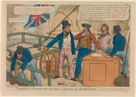 Note the tartan waistcoat and distinctive Scotch bonnet worn by the caricatured Scottish sailor at center in, Williams, Charles, 'Makeing a Compass at Sea, or the Use of a Scotch Louse (caricature) ' Tegg, Thomas (publisher), London, 1812, National Maritime Museum, Greenwich, #PAG8606. Available at: http://collections.rmg.co.uk/collections/objects/127881.html Accessed: 18/11/2015