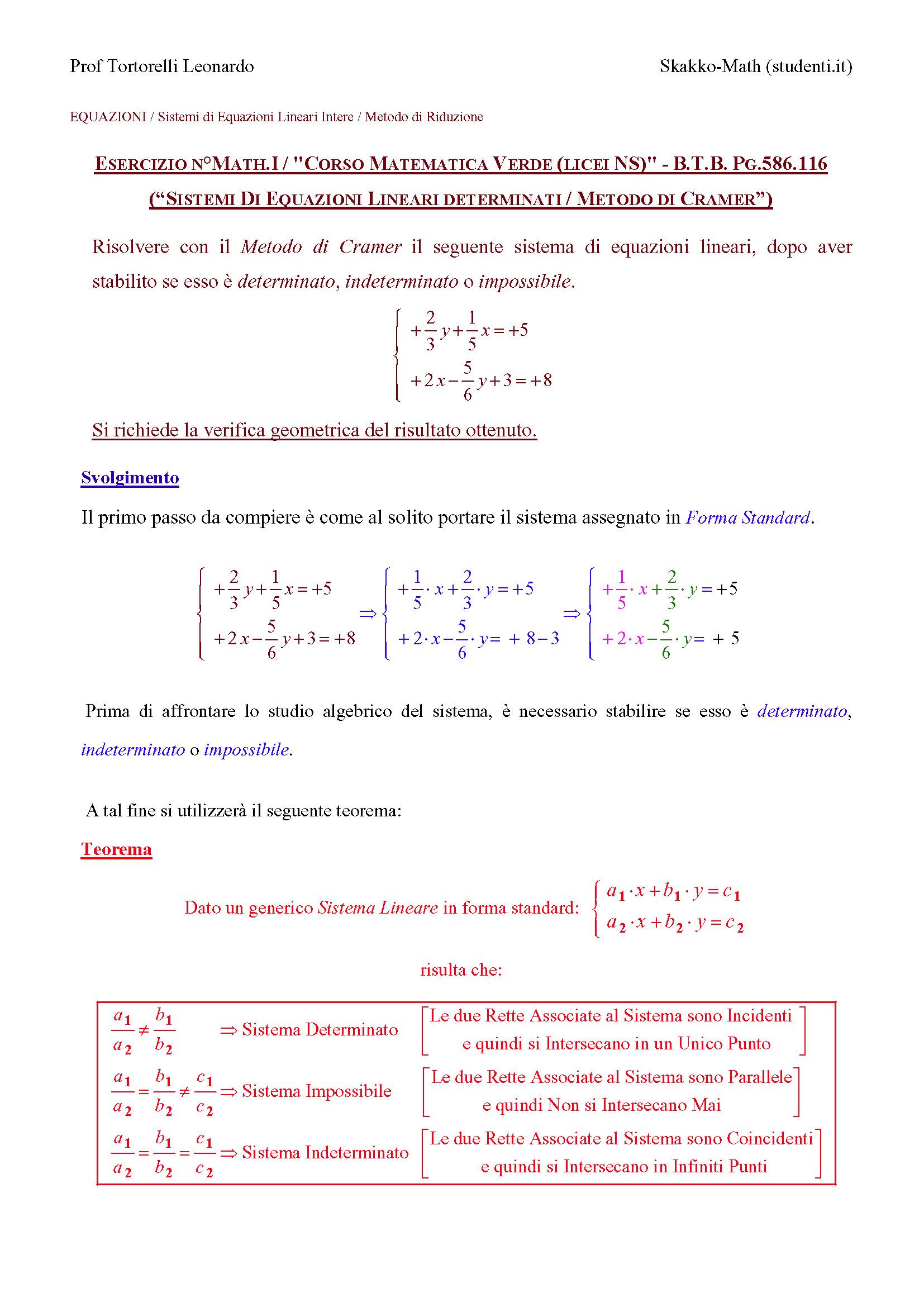 Sistemi Lineari Risolti con il Metodo di Cramer 116  SkakkoMath  Phys MatematicaFisica