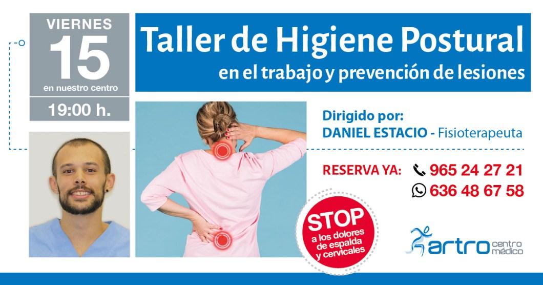 Taller de Higiene postural el día 15 en Artro Centro Médico a las 19:00